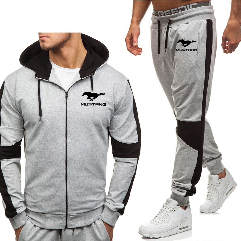 Hoodies Men Mustang Car Logo Print New Fashion Casual Harajuku Hooded Fleece Warm Zipper Jacket Sweatshirt Sweatpants Suit 2pcs