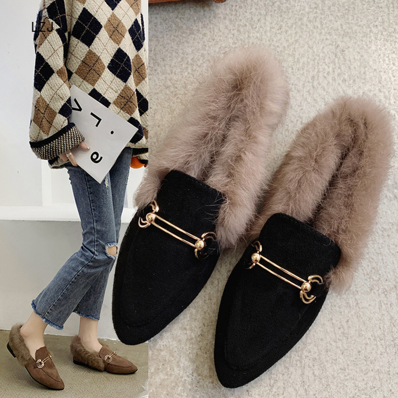 LZJ New 2019 Women's Pointed Shallow Mouth Set Foot Short Plush Warm Fashion Snow Boots Women's Winter Shoes Zapatos De Mujer 42