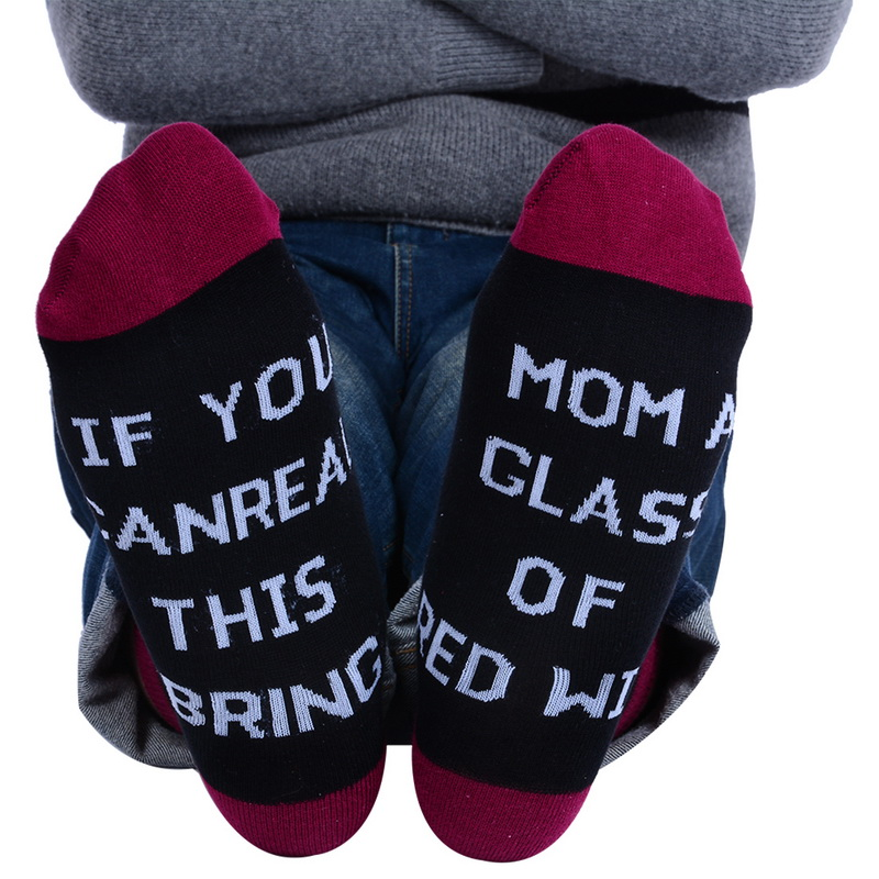 2020 Women  Words Printed Socks If You Can Read This Bring  Wine Casual Unisex Lovers Cotton Socks Dropshipping
