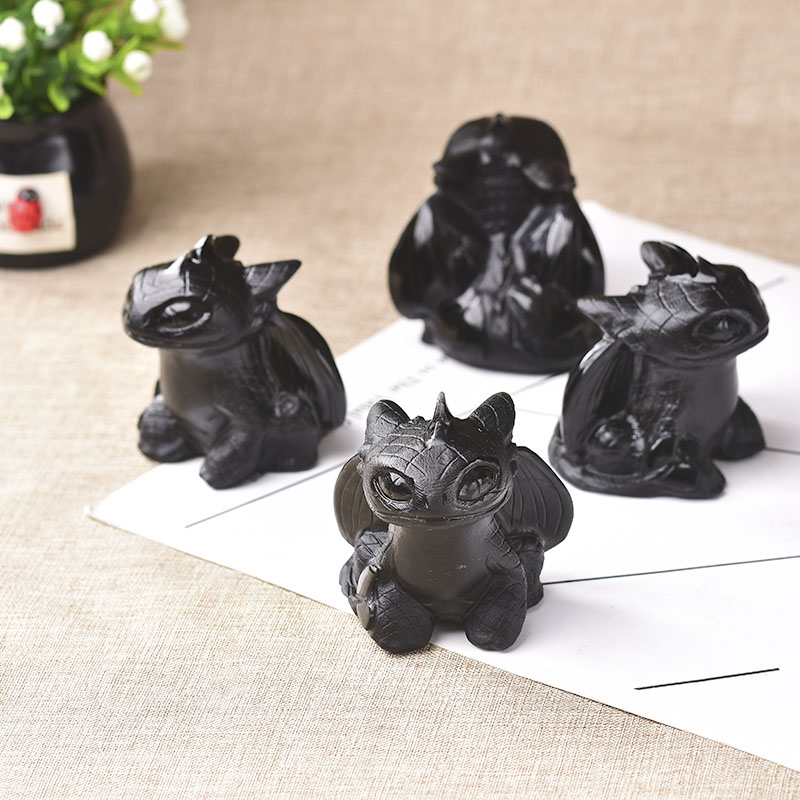 1PC Natural Obsidian Hand Carved Toothless Dragon Polished Crystal Healing Stone Home decoration Art Collectible Figurine Crafts