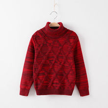 3T-12T pure color winter teenage boy girl kid thick Knitted bottoming turtleneck shirts  high collar pullover sweater clothes