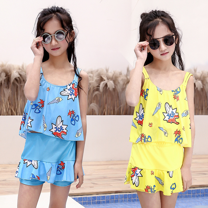 Girls Swimwear Korean-style Comfortable Small CHILDREN'S Children Beach Swimming Princess Dress-Boxer Split Type Two-Piece Swimw