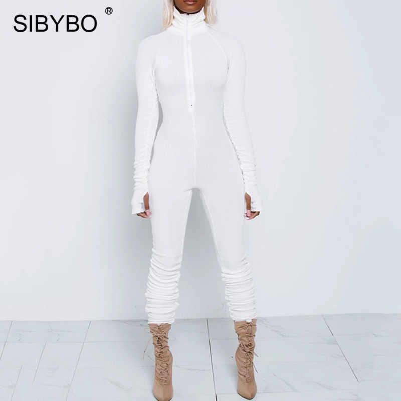 SIBYBO wiosna golf Skinny kombinezon w stylu casual kobiety z długim rękawem zamek błyskawiczny z przodu ubranie sportowe kobiety pajacyki czarne kombinezony dla kobiet