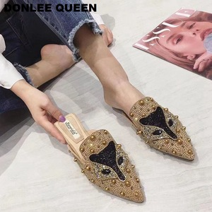 Image 4 - נשים כפכפים שקופיות שטוח נעליים יומיומיות נשים להחליק על פרדות שועל דפוס בלינג ריינסטון מסמרת נעלי נשים כפכפים Mujer 19