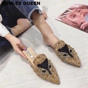 Image 4 - Women Slippers Slides Flat Casual Shoes Women Slip On Mules Fox Pattern Bling Rhinestone Rivet Slipper Women Flip Flops Mujer 19