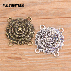 PULCHRITUDE 6pcs 28*30mm New Product Two Color Zinc Alloy Round Flower Porous Connectors Jewelry Making DIY Handmade Craft