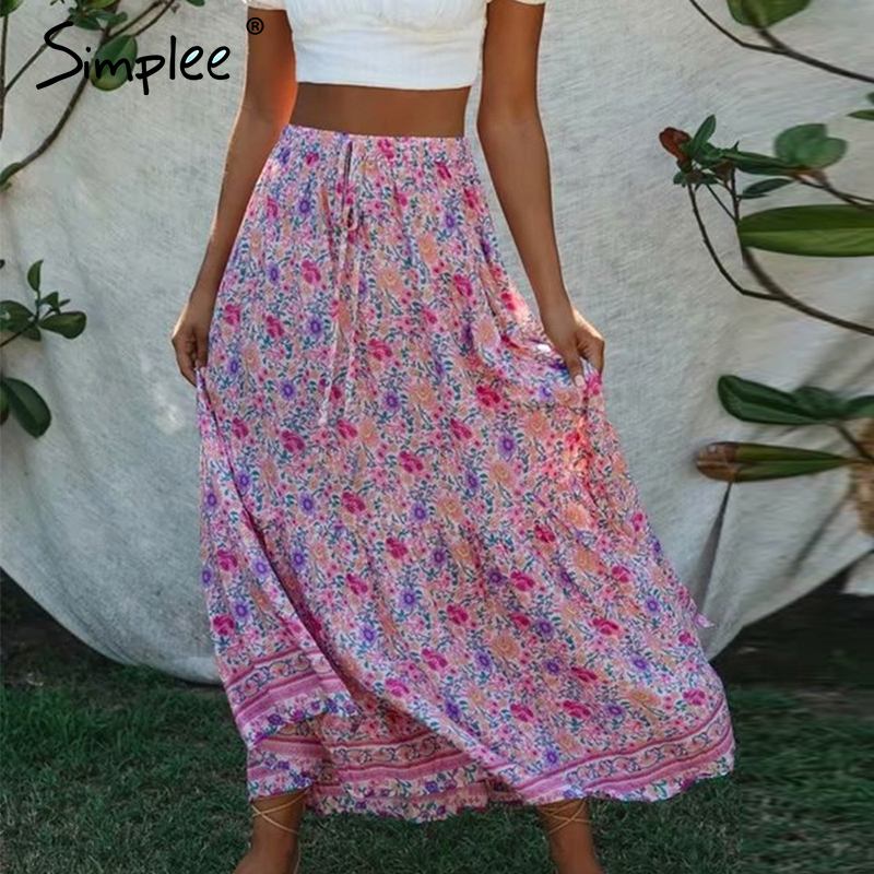 Simplee Boho Floral Print Women Long Skirt Lace Up Ruffle Female A-line Skirt Spring Summer Holiday Beach Ladies Skirts Bottoms