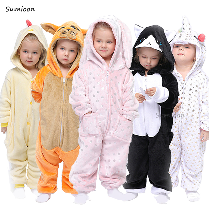 Children Rabbit Pajamas Boy Girl Cartoon Animal Cosplay Pyjama Onesie Kids Kigurumi Unicorn Sleepwear Hoodie Costume Jumspuit