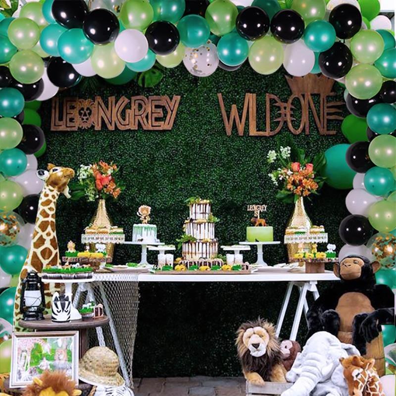 113 Balões guirlanda temático Da Selva selvagem um primeiro aniversário 1st pçs/set nascimento festas chuveiro decorações do partido dos miúdos Do Bebê pano de fundo