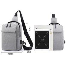 New Cool Nylon Crossbody  Quality USB Charging Men Chest Bag Waterproof Travel Shoulder Causal Men Messenger Bag
