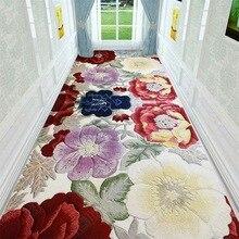 Europe style corridor Strip 3D flower floor mat Bedroom living room carpet plush printed non-slip rug custom made floor mat uhommi flamingos rainforest plants printed skidproof floor mat