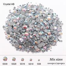 Poprawka dżetów 2500 sztuk Mix rozmiar wysokiej jakości błyszczące kryształy kryształy Strass kamień klej powrót żelazko na dżetów na ubrania