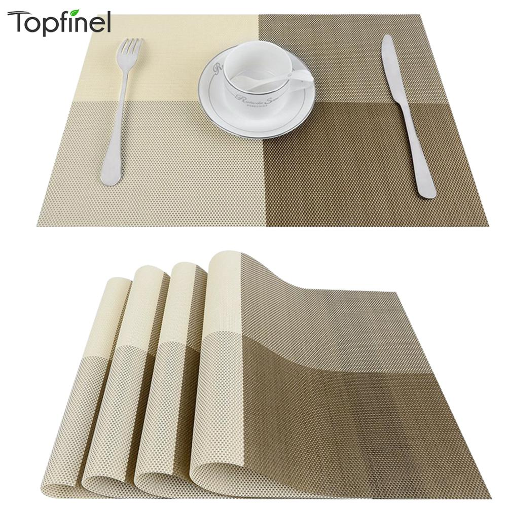 Topfinel Set of 4 PVC Bamboo Plastic Placemats for Dining Table Runner Linens Place Mat in Kitchen Accessories Cup Wine Mat in Mats Pads from Home Garden