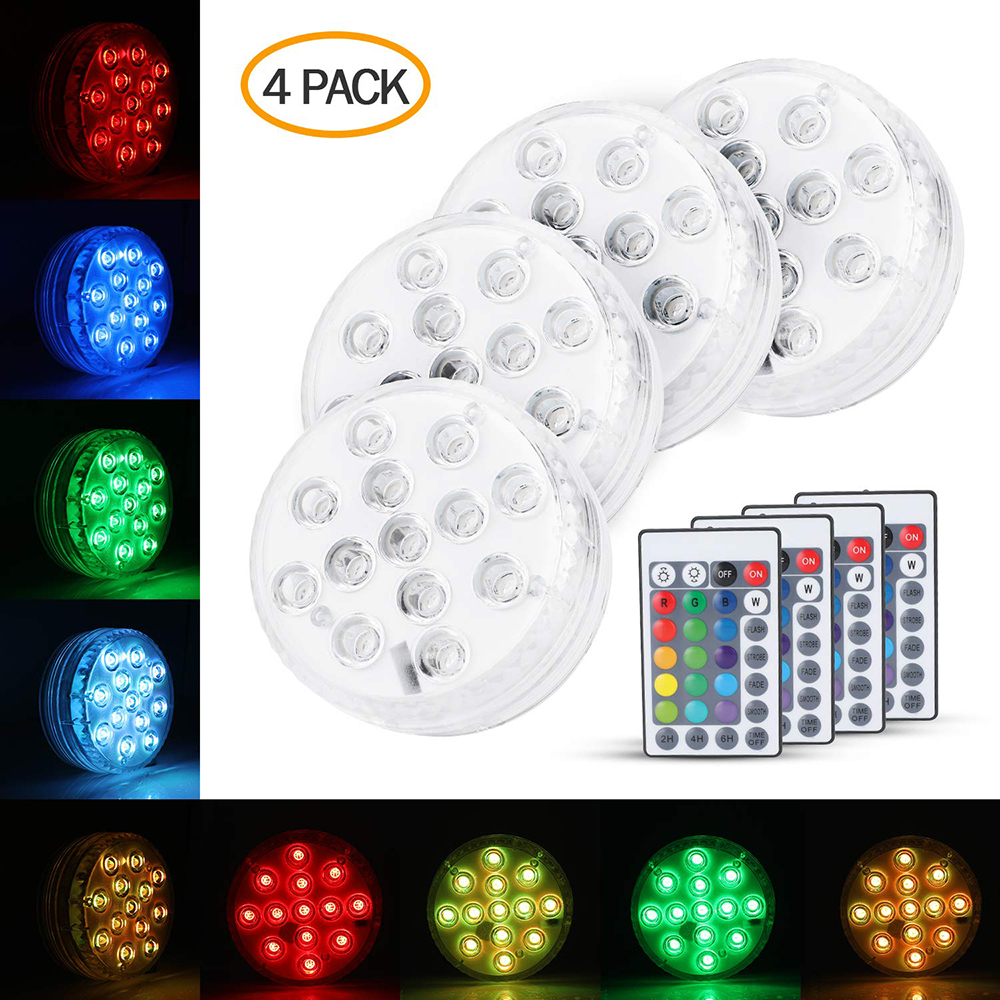 Underwater Led Light Submersible LED Light With Remote Timing Function 16 Color  IP68 Waterproof Aquarium Light LED Night D40