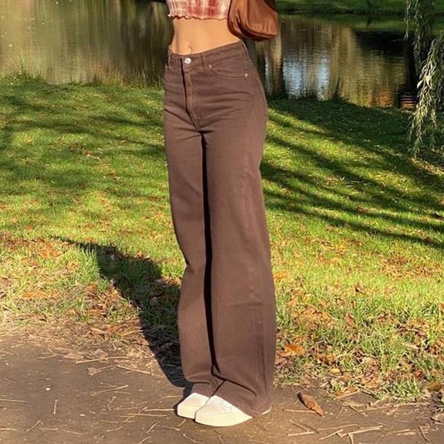 Vintage Y2K Baggy Brown Jeans Women Streetwear Loose High Waist Trousers Harajuku Fashion Cotton Denim Sweatpants Cuteandpsycho 2