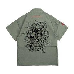 Wookong/2019 летняя новая мужская Свободная рубашка с принтом, хлопковая рубашка с короткими рукавами с китайским мультяшным принтом nezha