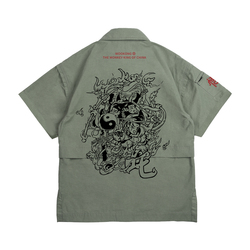 Wookong 2019 summer new in men's loose shirt tide prints cotton short-sleeved shirt with Chinese Cartoon nezha