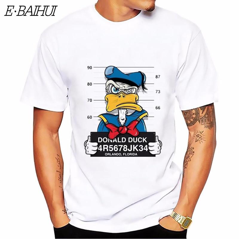 E-BAIHUI New Cartoon Duck Print T-shirt Men Tops Short Sleeve Casual  Dog Cartoon Mouse Tshirt Homme Comfort T Shirt CG001