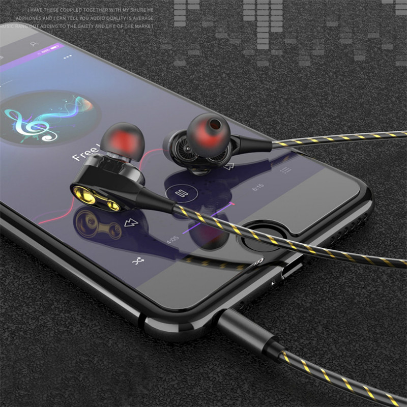 Dual Drive Earphone Cabled In-ear Earbuds Music Phone Headphone With Mic For Iphone Xiaomi Samsung Huawei 3.5mm Noise Reduction