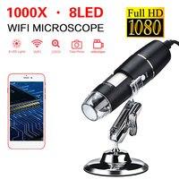 Wifi 디지털 현미경 wi fi 현미경 usb 1000x8 led 조명 모니터링 귀 청소 도구 검사 컴퓨터 휴대 전화|망원경|   -