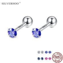 Silverhoo 925 brincos de prata esterlina para as mulheres multi-cor alergia livre zircônia cúbica parafuso prisioneiro brinco venda quente cz jóias finas