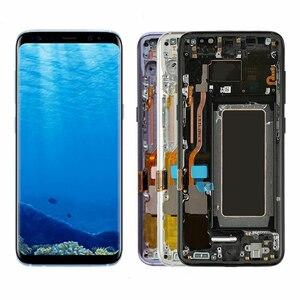 Image 2 - Tela de reposição super amoled lcd, com moldura, touch screen, digitalizador, serviço, para samsung galaxy s8, g950, g950f, s8 plus, g955f pacote de pacotes