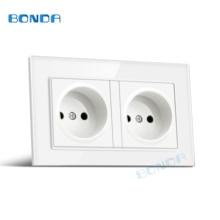 BONDA EU standard 146*86mm 16A dual electric wall socket flame retardant glass / plastic  panel AC 110-250V power wall socket 86 type british three hole wall socket power socket panel 13a ac 110 250v