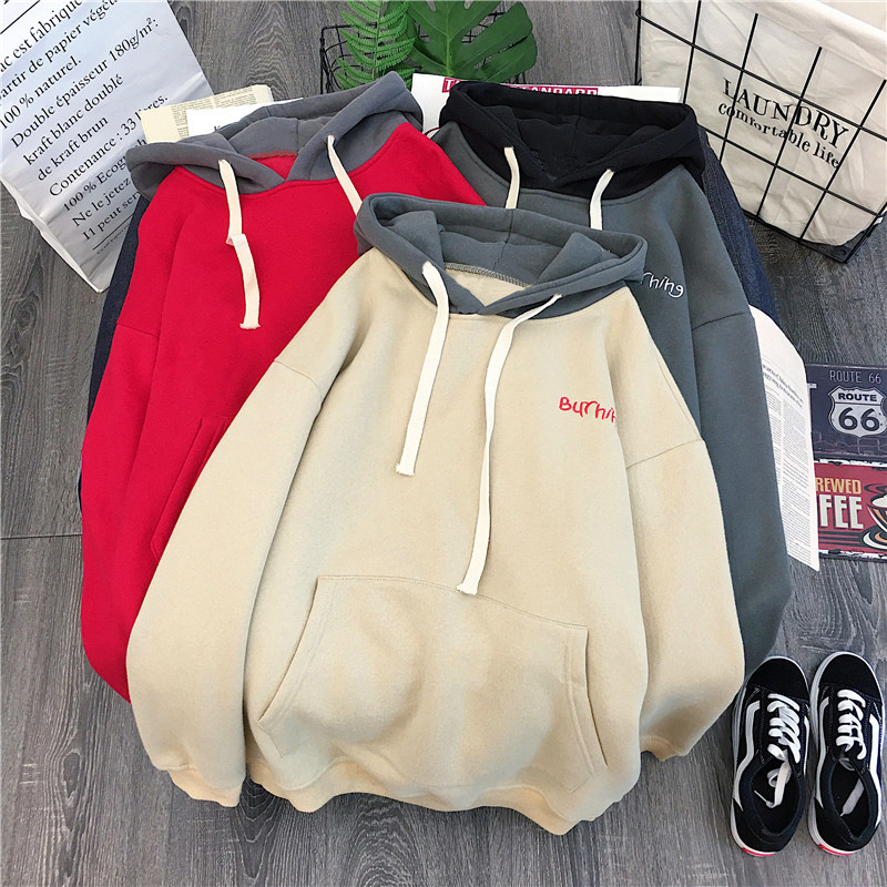 Hoodie Female Plus Size Casual Embroidery Alphabet College Wind Long Sleeve Hooded Female Soft Cotton Ladies Pullover Sweatshirt