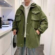 купить Cotton Long Jacket Men Fashion Solid Color Casual Multi-pocket Tooling Jacket Man Streetwear Loose Hip Hop Bomber Jacket Men дешево