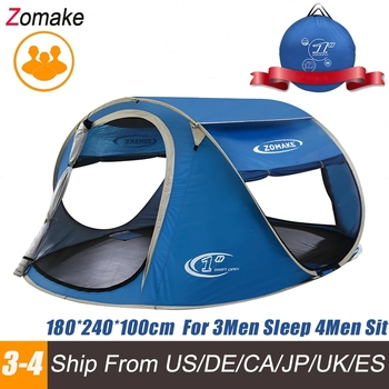 ZOMAKE Beach Tent Pop Up Large Automatic Instant Lightweight Hiking Camping Tent for 3 Person Waterproof  Tent  Foldable automatic instant pop up beach tent lightweight outdoor uv protection camping fishing tent cabana sun shelter