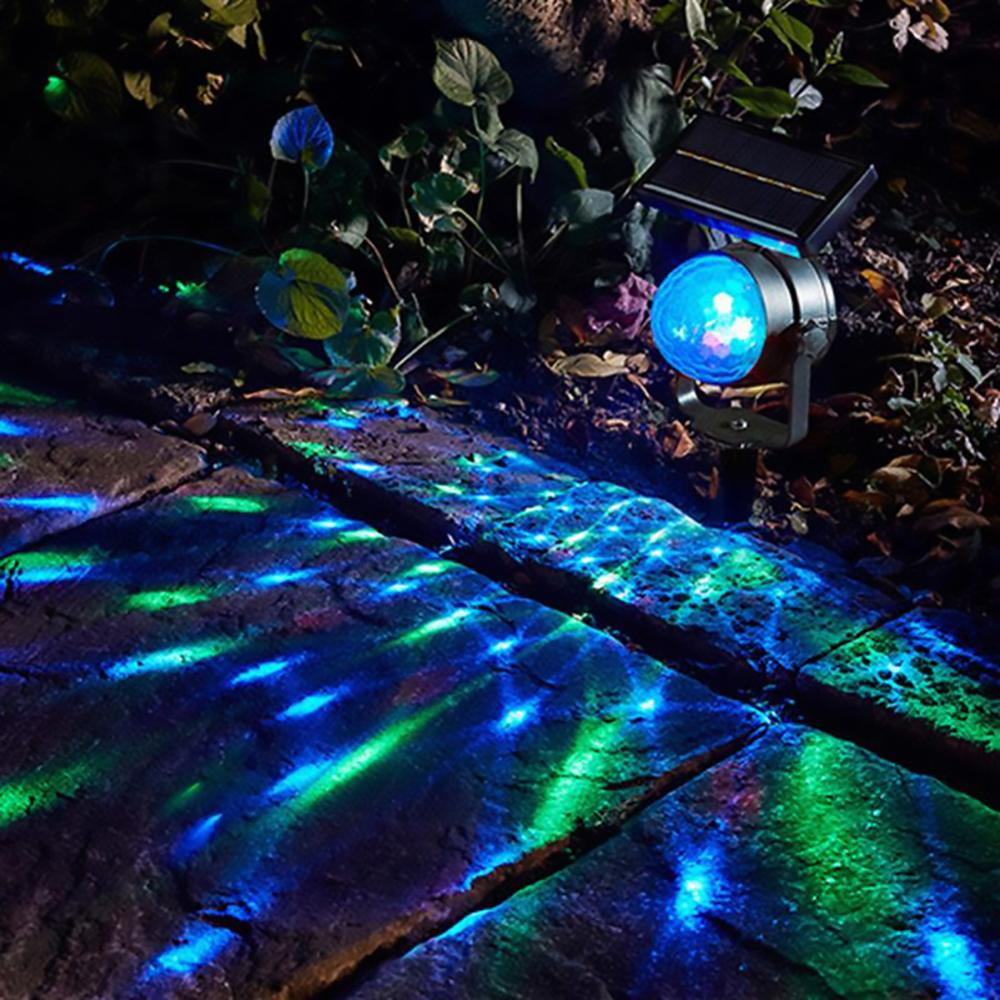 Solar Projector Power LED Projection Light Rotary Spotlight Moving Lawn Lamp For Outdoor Garden Yard Waterproof Lighting