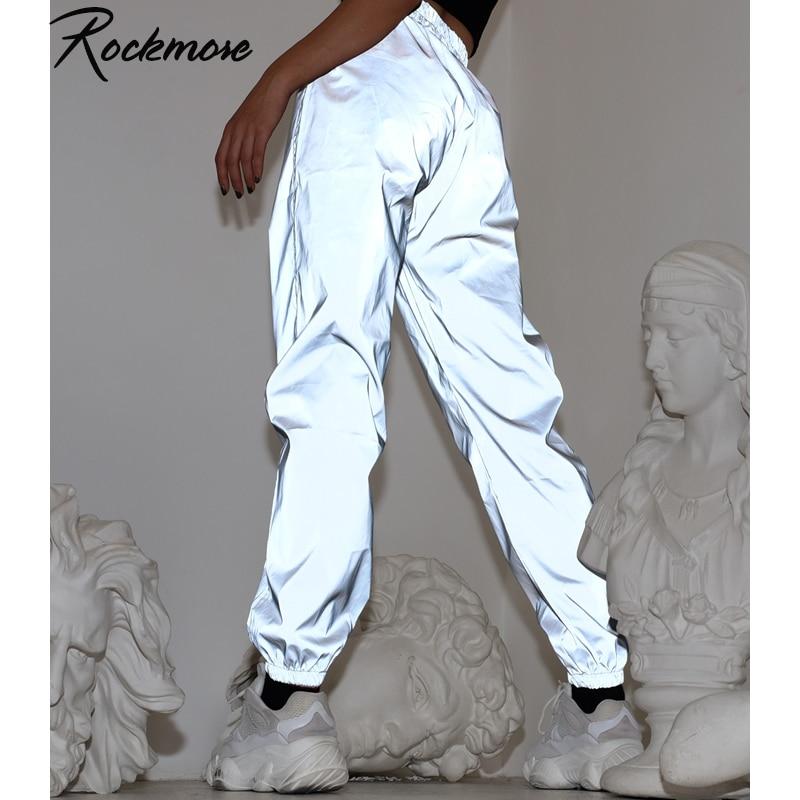 Rockmore Reflective Pencil Pants Women Streetwear Joggers High Waist Trousers Plus Size Wide Leg Pants Casual Sweatpants Ladies