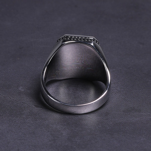 Image 2 - Real Solid 925 Sterling Silver Ring Simple For Men With Black Square Flat Gel Stone High Polishing Middle East Turkish Jewelry