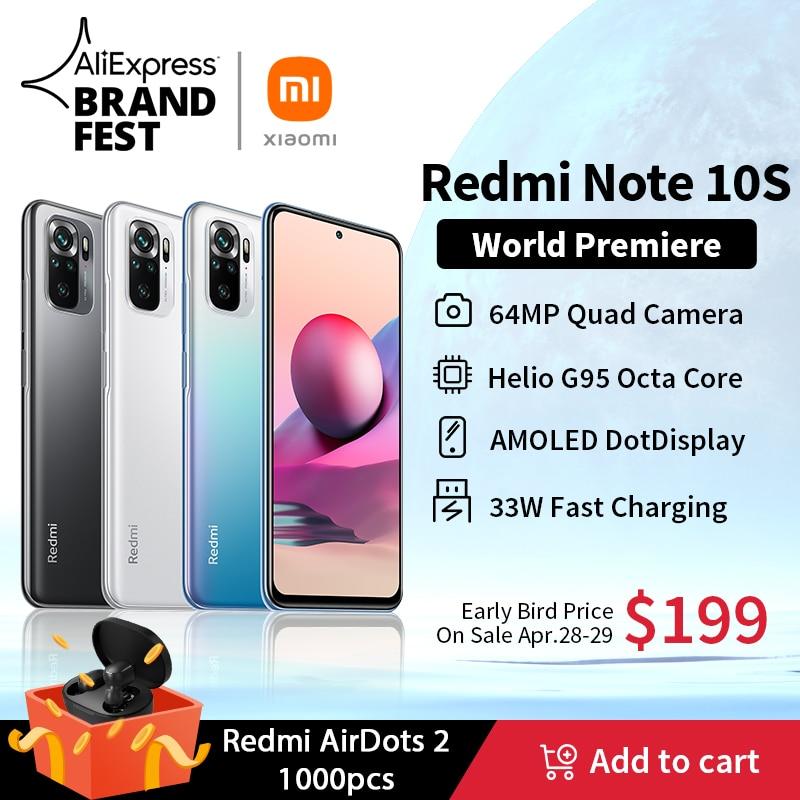 [Мировая премьера] глобальная версия Xiaomi Redmi Note 10S смартфон 64-мегапиксельная четырехъядерная камера Helio G95 6,43