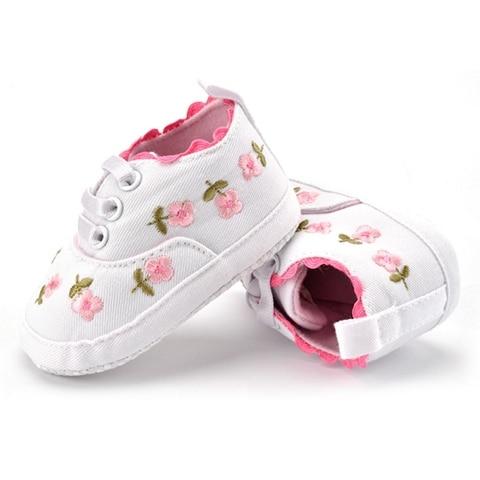 Baby Girl Shoes White Lace Floral Embroidered Soft Shoes Prewalker Walking Toddler Kids Shoes First Walker Karachi