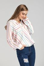 Explosive striped shirt V-collar coloured long-sleeved chiffon