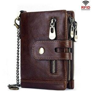 Модный бумажник из натуральной коровьей кожи RFID, мужской короткий тонкий кошелек, мульти-карты, зажим для денег, кредитная карта, кошелек дл...