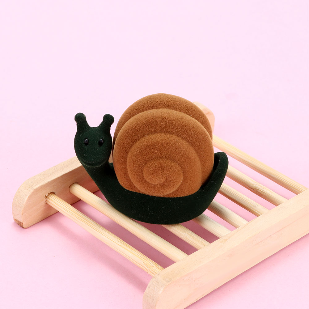 Exquisite Gift Cartoon Animal Snail Shape Velvet Flocking Jewelry Box Storage Packaging Storage Container Ring Box Gift Box