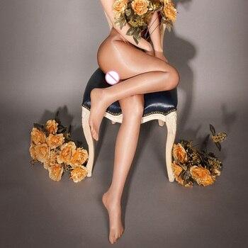 Mujeres 30 negers aceite brillo medias de cintura alta brillo Pantyhose entrepierna abierta Multicolor brillante Lustre que forma las piernas calcetines para danza