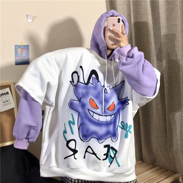 QWEEK Harajuku Hoodie Women Print Pullover Korean Oversized Sweatshirt Long Sleeve Hoodies Grunge Hoodie Halloween Monster Chic 5