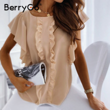 BerryGo Elegant ruffled o-neck women blouse shirt summer sho