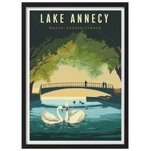 França lago annecy alta savoie vintage viajar poster lona pintura da parede arte kraft posters revestido wallsticker decoração de casa