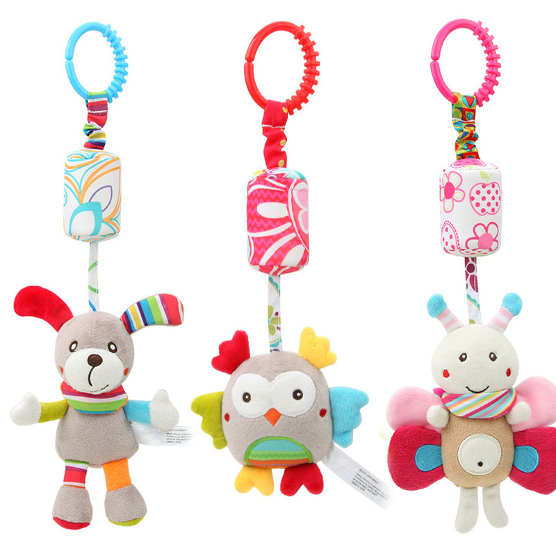 Baby Rattles Mobiles Newborn Baby Plush Stroller Toys 0-12 Months  Cartoon Animal Hanging Bell Educational Baby Toys