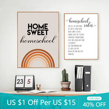 Home Sweet Homeschool Rules Quotes Art Prints Minimalist Posters Canvas Painting Wall Art Pictures School Classroom Decoration image