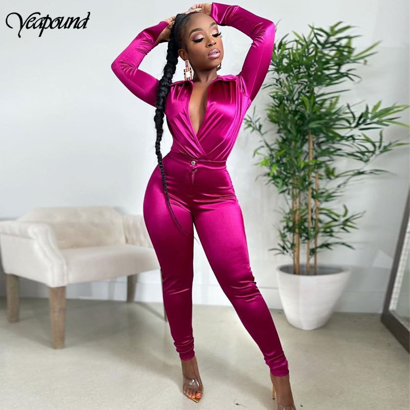 Satin Silk Sexy Two Piece Set Women Deep V-Neck Crop Top +pants 2 Piece Set Bodycon Bandage Suits Casual OL Wear