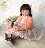 60 cm new princess doll toy Silicone Reborn Baby Doll alive Toy baby For Girl Newborn Toy dress up kids Christmas/Birthday Gift