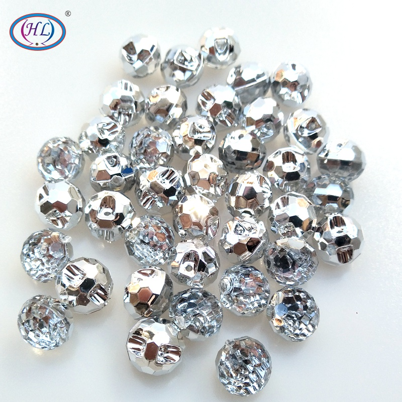 HL 40pcs White Color Round Acrylic Buttons Apparel Sewing Supplies Garment Accessories DIY Crafts A737(China)
