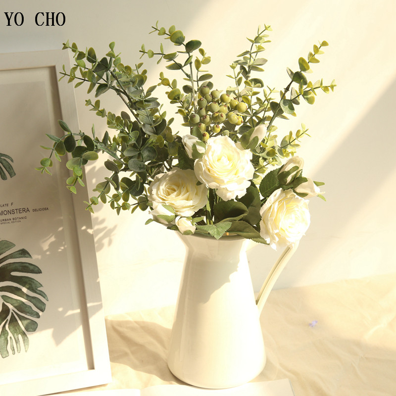 YO CHO Big Bunch Silk Roses Artificial Flowers Bundle Wedding Flowers Bride Bouquet Table Arrangement Home Decor Fake Flowers
