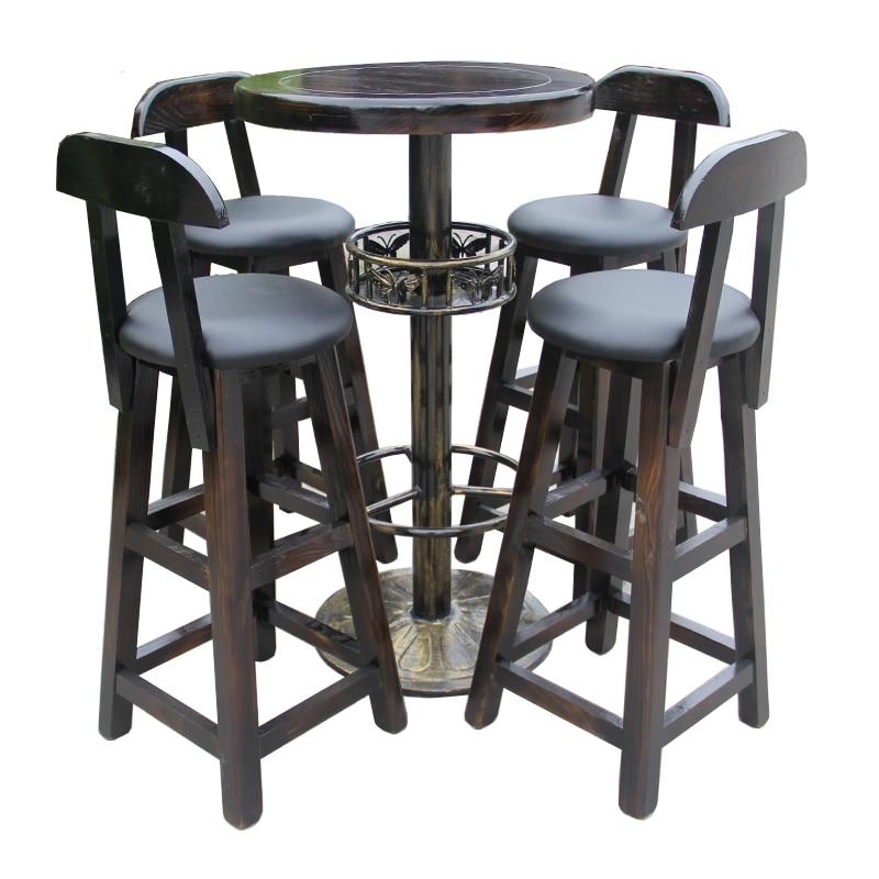 Solid Wood Chairs Combination Coffee Shop Tea Wrought Iron High Creative Personality Bar Table Sillas Banqueta Cadeira Taburete