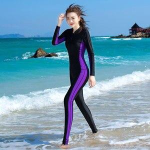 Image 2 - 2019 สไตล์ใหม่ Womens Body Scuba Surfing ดำน้ำชุดว่ายน้ำ One piece ดำน้ำดูปะการังกลับซิปชุดเปียก 81109